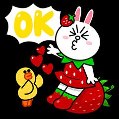 【無料スタンプ速報:シリアルナンバー】LINE FRIENDS アイス いちごれん乳 スタンプ(2015年07月13日まで)