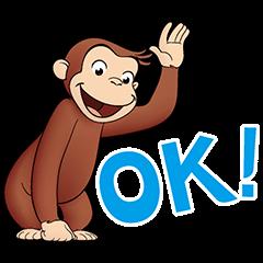【無料スタンプ速報:隠しスタンプ】おさるのジョージ×ブラザースタンプ(2016年02月11日まで)