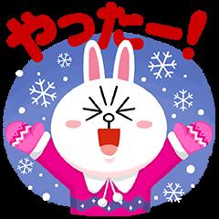 【無料スタンプ速報:隠しスタンプ】ルーレット限定冬のLINEキャラクターズ スタンプ(2016年01月05日まで)