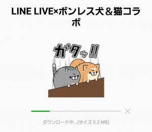 【隠し無料スタンプ】LINE LIVE×ボンレス犬&猫コラボ スタンプ(2016年03月02日まで) (4)
