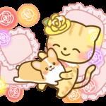 薔薇の妖精ロザニャンとお友達のコーギー
