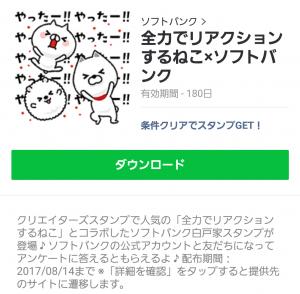 【限定無料スタンプ】全力でリアクションするネコ×ソフトバンク スタンプ(2017年08月14日まで) (6)