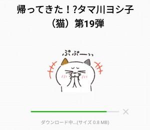 【限定無料スタンプ】帰ってきた!タマ川ヨシ子(猫)第19弾 スタンプを実際にゲットして、トークで遊んでみた。 (2)