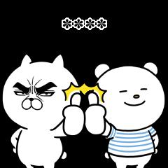 【限定無料スタンプ】目ヂカラ☆にゃんこ×ニトリのシロクマ スタンプのダウンロード方法とゲットしたあとの使いどころ